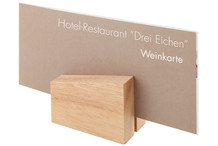 Set of 2 wood menu card holder