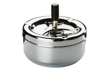 Ashtray with rotary button, metal look