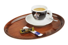 Non-slip oval tray wood decor