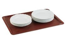 Rectangular non-slip tray laminated wood mahogany