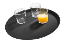 Black non-slip tray made of fibber glass