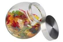 Glass canister with aroma-tight screw cap