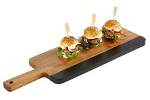 Wood and slate serving board, chopping board shape