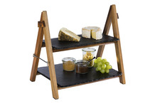 Serving stand wood and slate