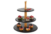 Natural slate and wood stand, three round trays