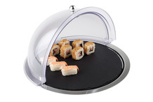 Set 3 pieces, stainless steel tray with slate tray and roll-top cover