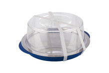 Round cooled tray with cover and silicone strap