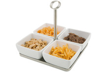 Appetizer set, stainless steel tray with 4 white melamine square cups
