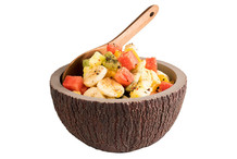 Coconut salad bowl, concrete appearance coconut