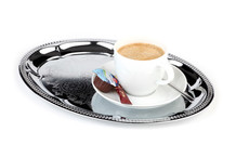Box of 48 chrome-plated metal oval tray, fully chiselled surface
