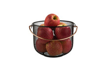 Black metal basket with handle