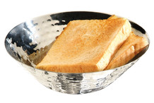 Bread or fruit basket, stainless steel hammered look