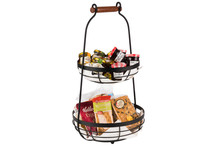 Double black metal basket with wooden handle
