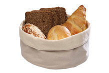 Bread basket made of cotton, beige and white colour