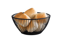 Black round metal basket Svart