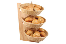 Wood buffet stand for three baskets