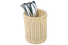 Round polyrattan cutlery basket