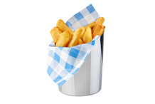 Asymmetric stainless steel cup for snacks and fries