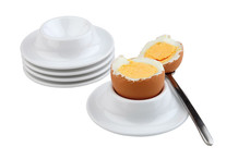 Egg holder, white melamine, set of 4