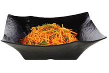 Black square melamine salad bowl granite stone imitation Global Buffet collection