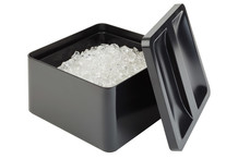 Black ice bucket with drainer