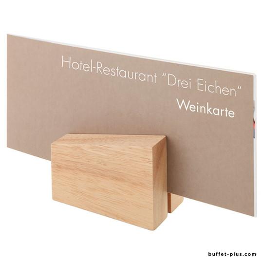 Set of 2 wood menu card holder