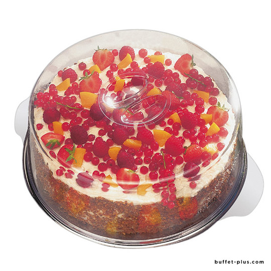 Stainless steel cake plate with transparent cover