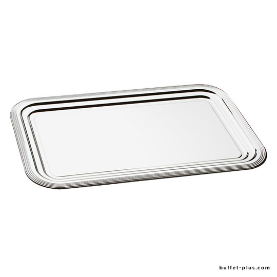 Box of chrome-plated metal trays Classic with round edge decorated lines