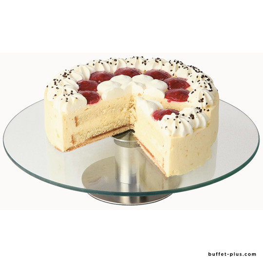 Glass cake stand with stainless steel foot, rotating