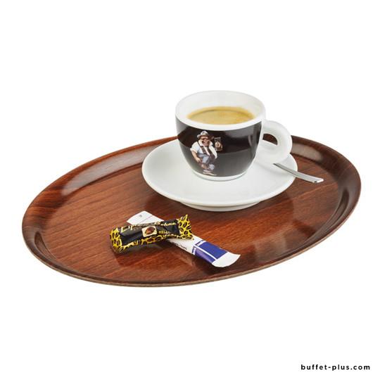 Non-slip oval tray wood decor