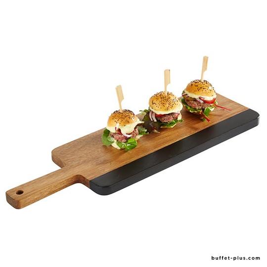 Wood and slate serving board, chopping board shape
