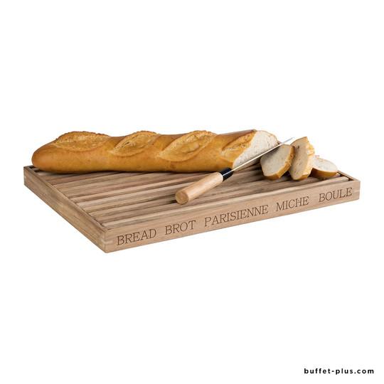 Wood cutting board with bread crump shelf Letter