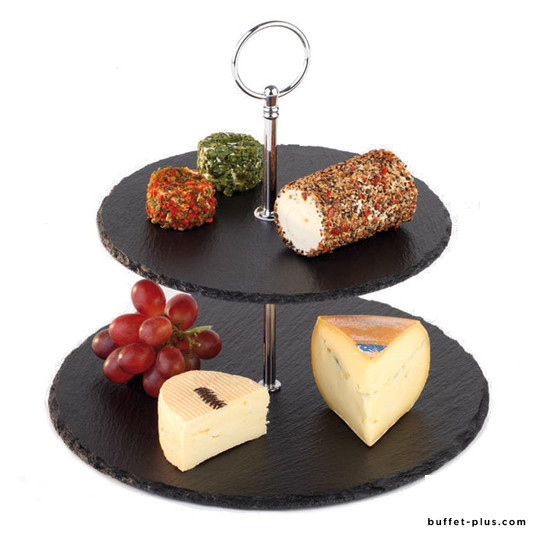 Natural slate and wood stand, two round trays