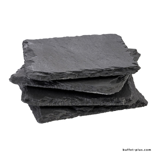 Set of 4 natural slate tray