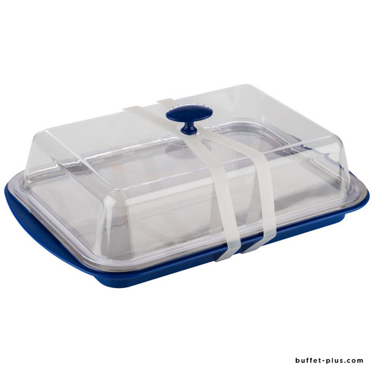 Rectangular cooled tray with fixed cover and silicon transprot and carrying strap.