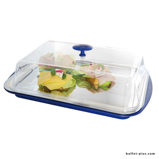 Cooled tray with fixed cover