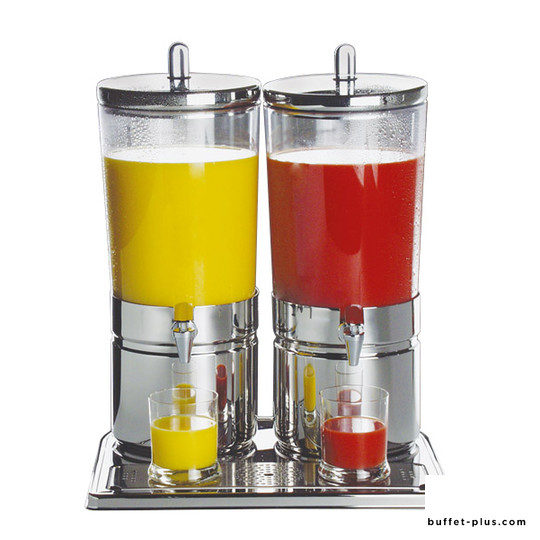 Double fruit juice dispenser, stainless steel base Top Fresh collection