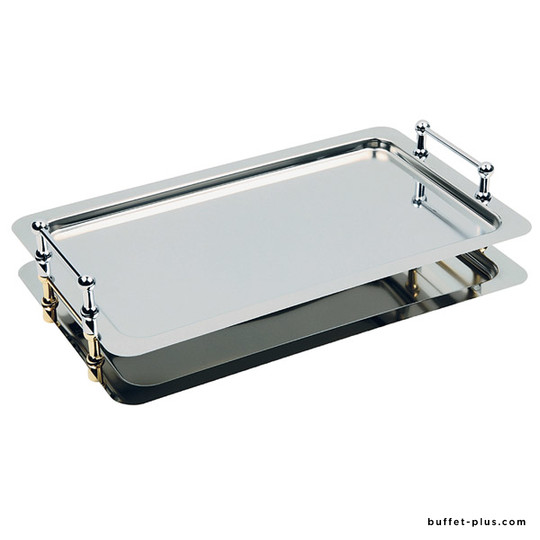 Stainless steel stackable tray GN 1/1 or round tray with chrome plated handles, Buffet Star collection