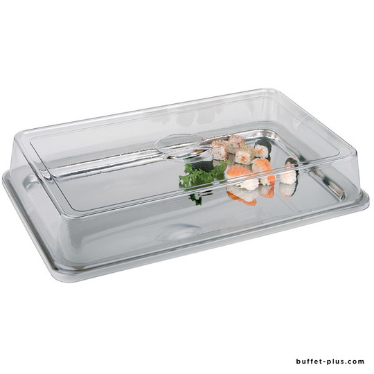 Set stainless steel tray GN 1/1 stackable handles, with clear cover