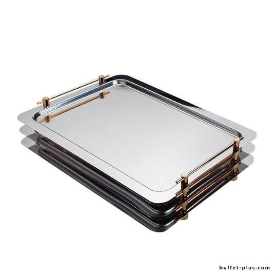 Stainless steel stackable serving tray, gold-plated handles, Profi Line collection