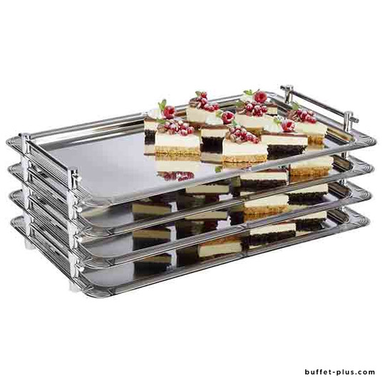 Stainless steel stackable serving tray decor edge Profi Line collection