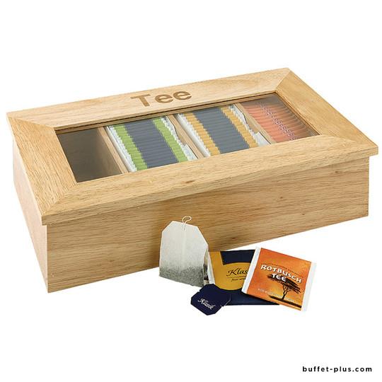 Wood tea box  4 chambers