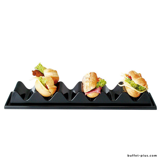 Black snack presenter for sandwiches
