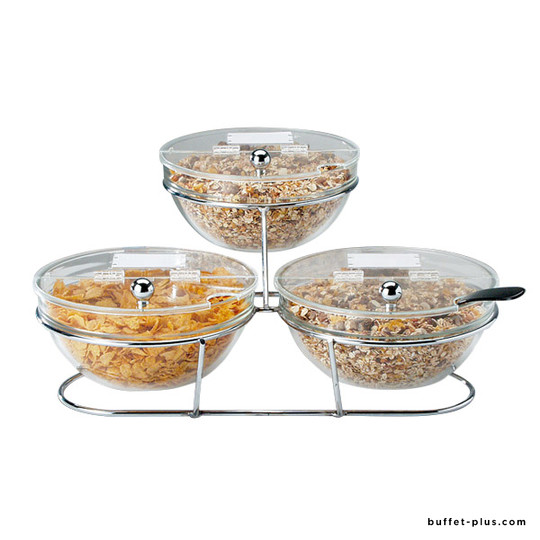Cereal display with 3 glass bowls Ø 23 cm and lids, Big collection