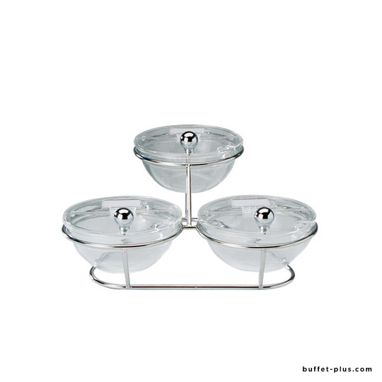 Cereal display with 3 glass bowls Ø 14 cm and lids, Little collection