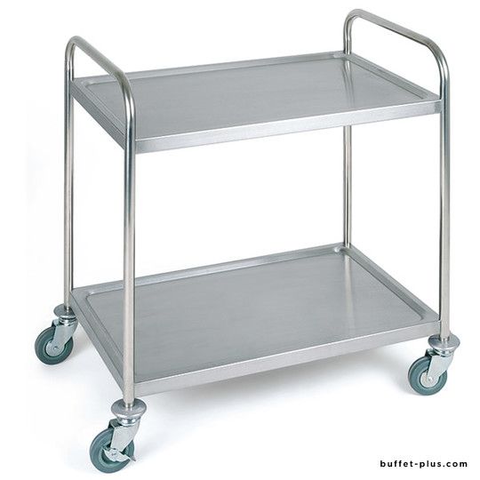 Stainless steel serving trolley 2 levels
