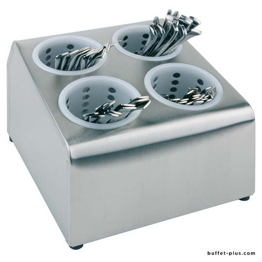 Cutlery display stand 4 or 6 plastic cutlery containers