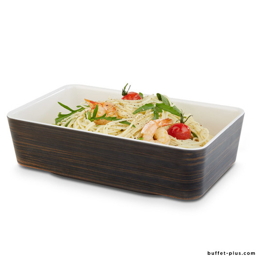 Melamine bowl GN 1/4 two tones oak wood and cream colour