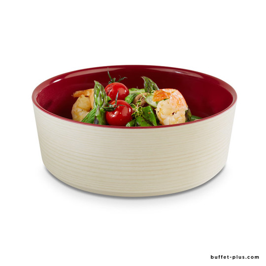 Melamine bowl two tones maple wood and cream colour
