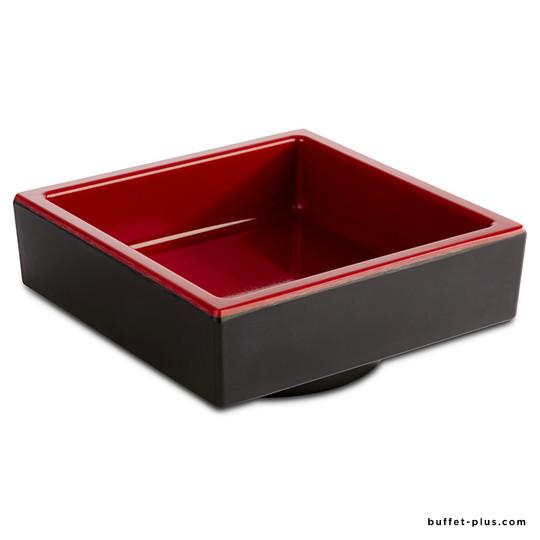 Bento square box Asia +, black and red melamine